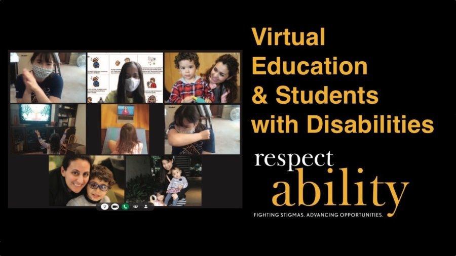Eight parents and students with disabilities in a Zoom call. Text: Virtual Education & Students with Disabilities. RespectAbility logo.