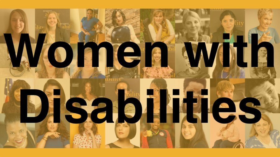 Headshots of 32 women with disabilities faded into a yellow background. Text: Women with Disabilities