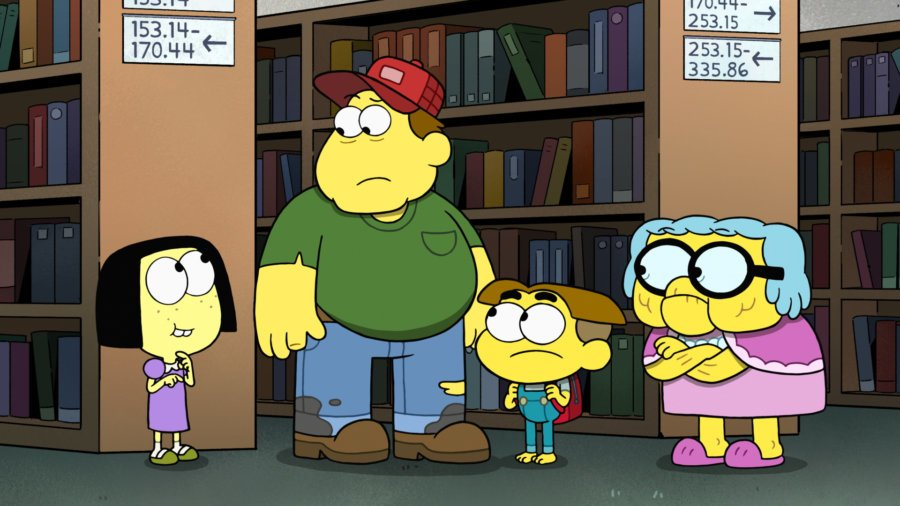 Tilly, Bill, Cricket and Gramma in a library setting in a scene from Big City Greens