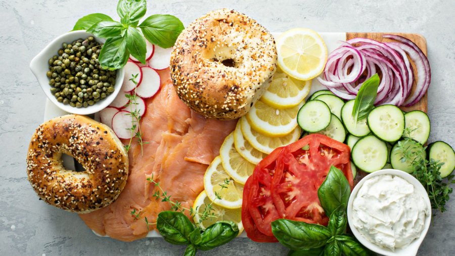 Bagels, lox, and other food eaten during a typical Break Fast for Yom Kippur