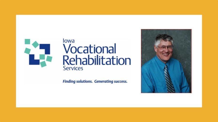Iowa Vocational Rehabilitation Services logo. Finding solutions. Generating success. Headshot of David Mitchell