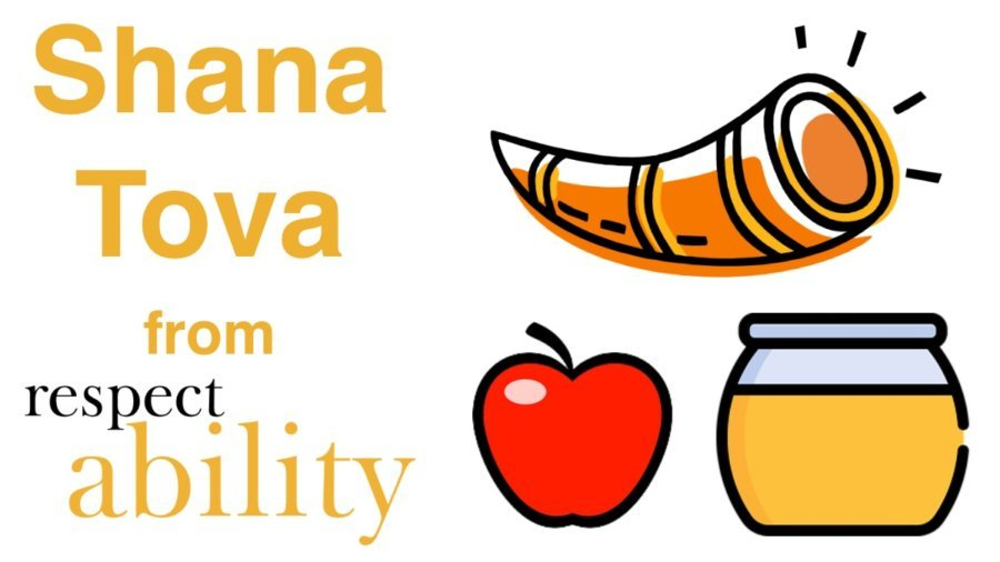 Shana Tova from RespectAbility. Graphics of a shofar, apple and jar of honey