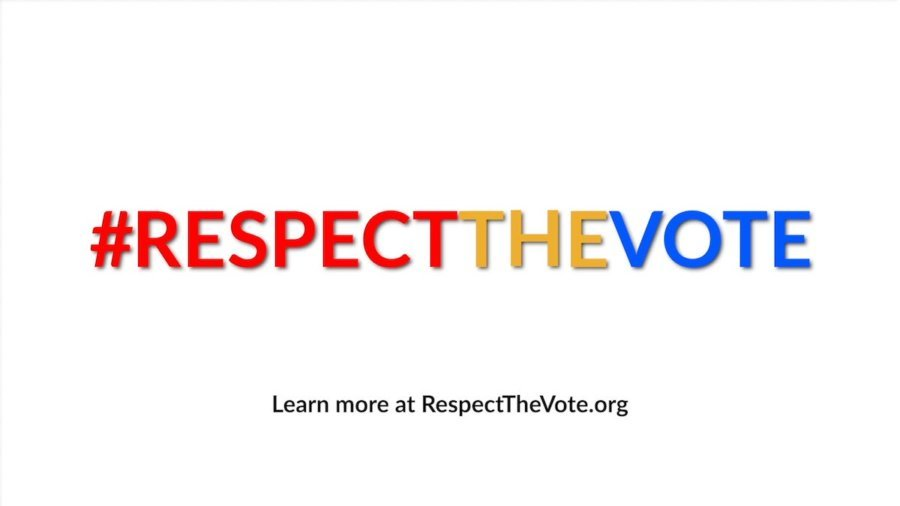 #RespectTheVote written in red, respectability's yellow color, and blue. Learn more at RespectTheVote.org