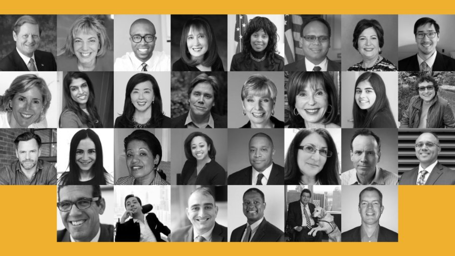 30 individual headshots of RespectAbility's Board of Directors and Advisors. RespectAbility yellow background.