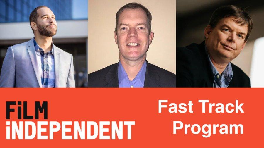 Headshots of Andrew Reid, Delbert and Jevon Whetter. Film Independent logo. Fast Track Program.