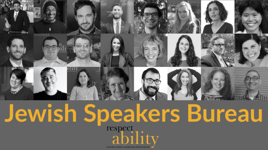 Black and white Headshots of 24 speakers in RespectAbility's Jewish Speakers Bureau. Text: Jewish Speakers Bureau. RespectAbility logo