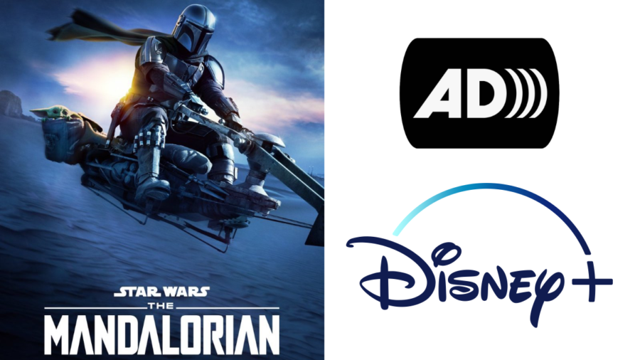 Poster for Star Wars The Mandalorian on Disney+. Audio description icon. Disney+ logo