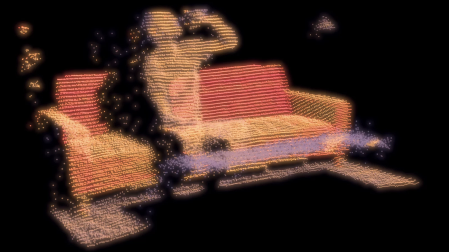 Still from film Forever showing a person drinking while seated on a couch using an experimental form of animation