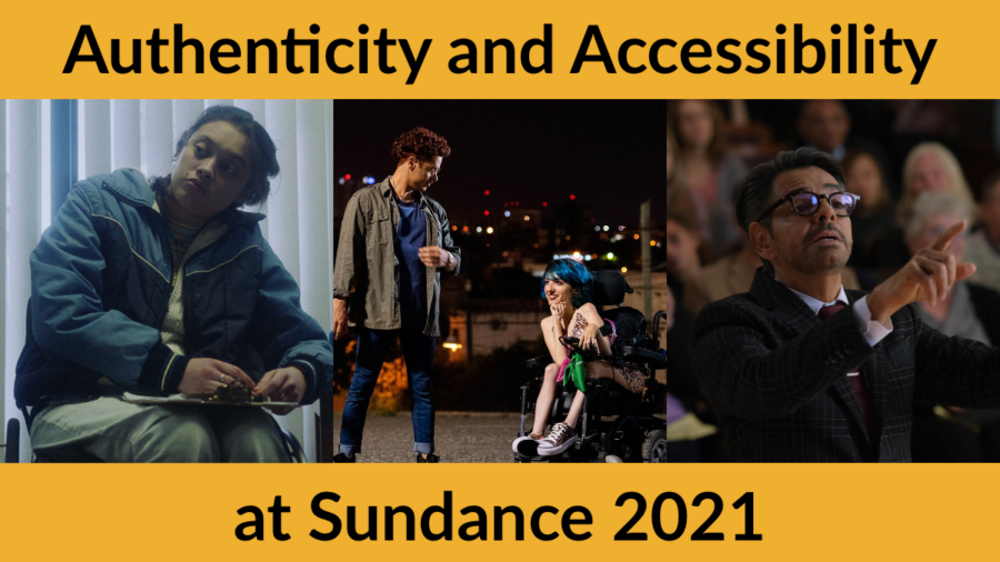 Stills from CODA, Wiggle Room and 4 Feet High. Text: Authenticity and Accessibility at Sundance 2021