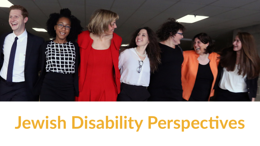 RespectAbility Jewish team members and Fellows smile together. Text: Jewish Disability Perspectives