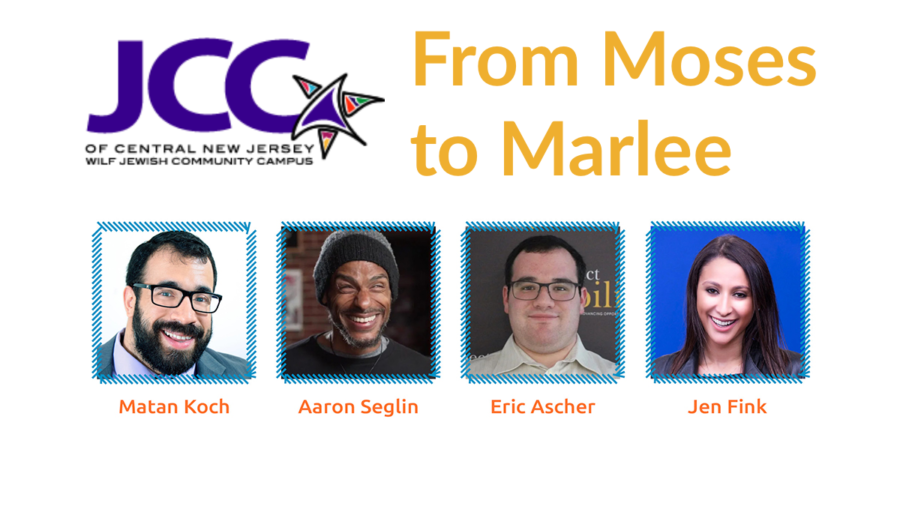 JCC NJ logo. From Moses To Marlee. Headshots of four speakers