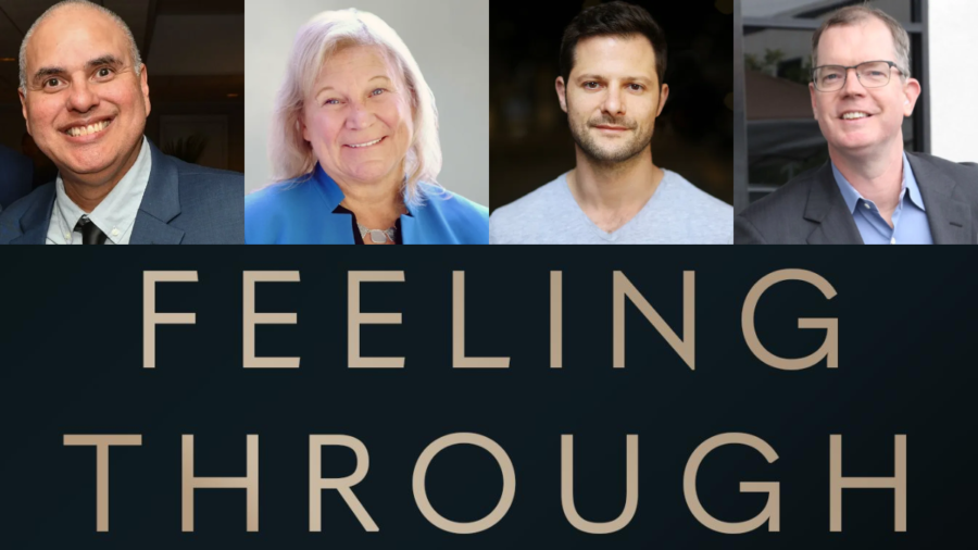 Headshots of four speakers smiling. Logo for Feeling Through
