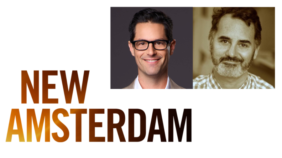 New Amsterdam logo. Headshots of Executive Producer David Schulner and Casting Director David Caparelliotis