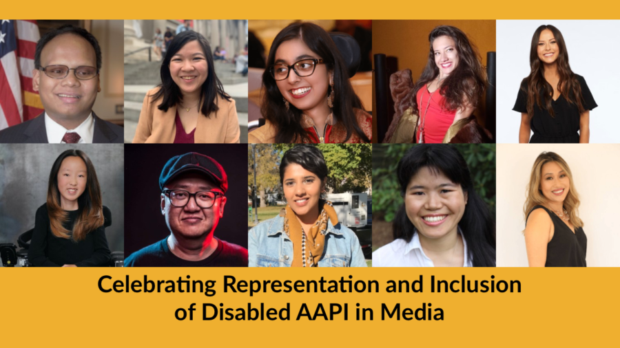 Text: Celebrating Representation and Inclusion of Disabled AAPI in Media. Headshots of 10 speakers participating in the event.