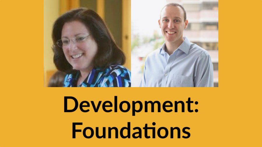 Headshots of Dena Kaufman and David Rittberg smiling. Text: Development: Foundations