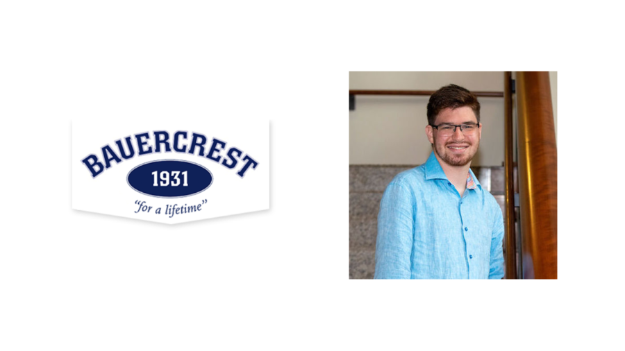 Logo for Camp Bauercrest next to a headshot of Jake Stimell