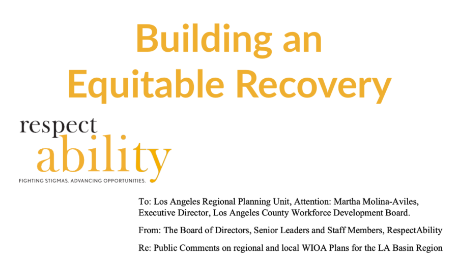 Text: Building an Equitable Recovery. Screenshot of testimony's address section on RespectAbility letterhead