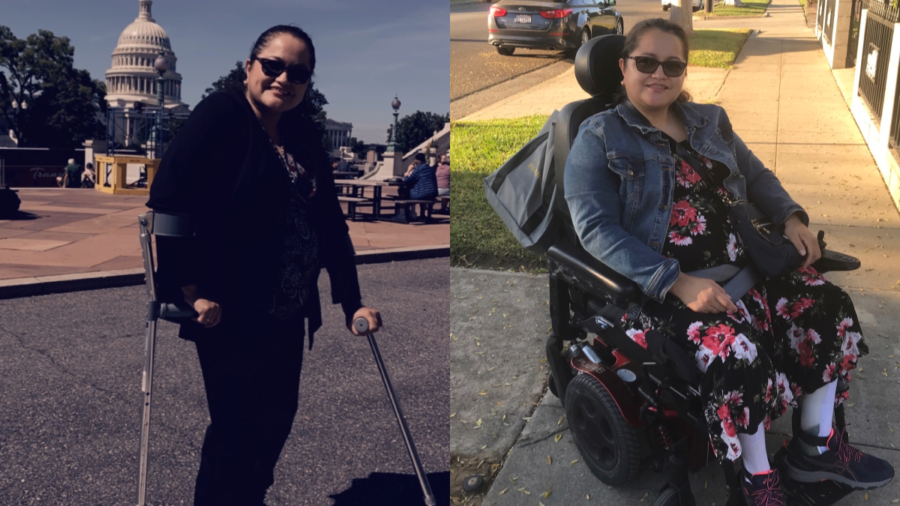 Photos of Nelly Nieblas outside of the US Capitol Dome and seated in a wheelchair on a street