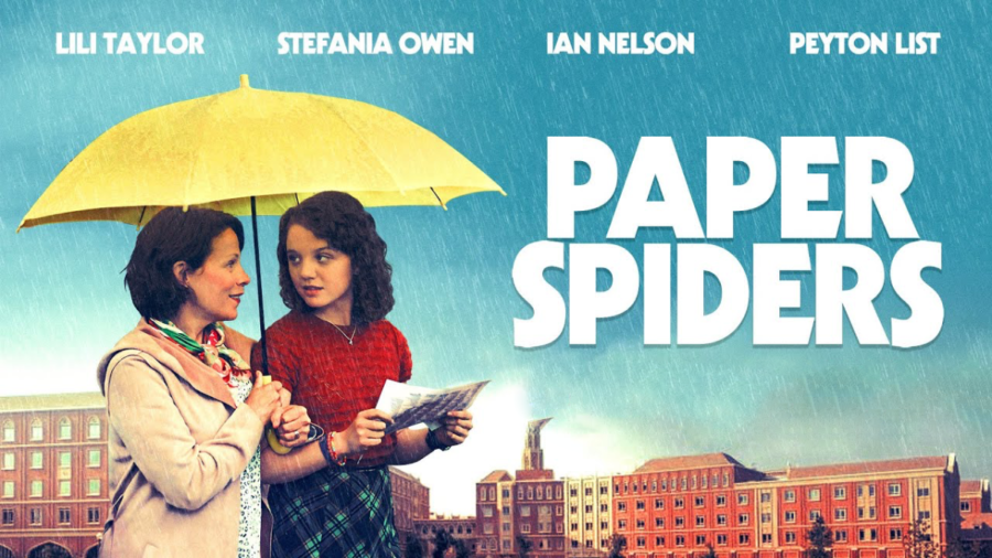 Paper Spiders movie poster with two women under an umbrella and names of the four lead actors
