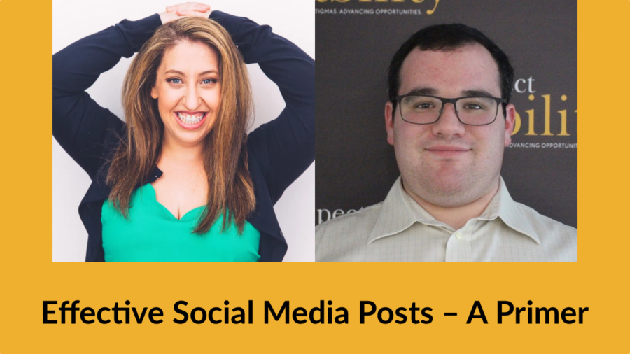 Headshots of Pamela Schuller and Eric Ascher. Text: Effective Social Media Posts – A Primer