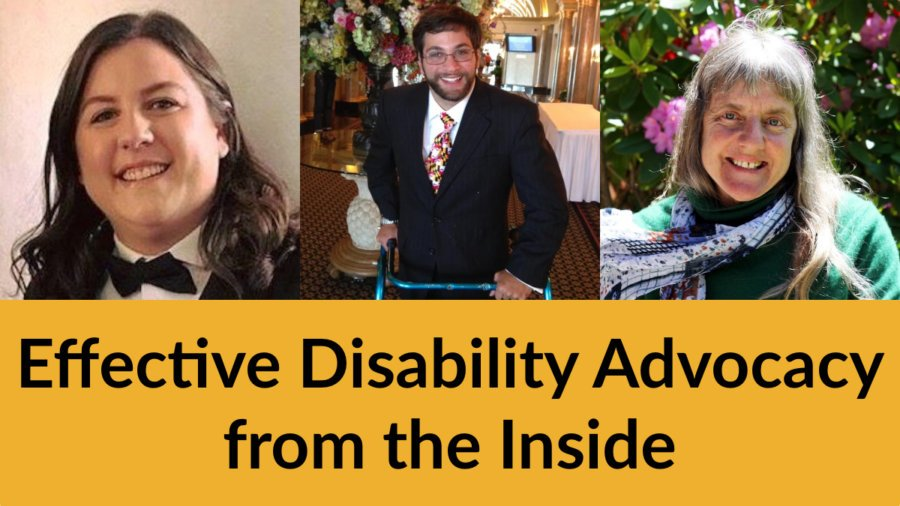 Headshots of Hannah Henschel, Aaron Kaufman and Susan Sygall. Text: Effective Disability Advocacy from the Inside