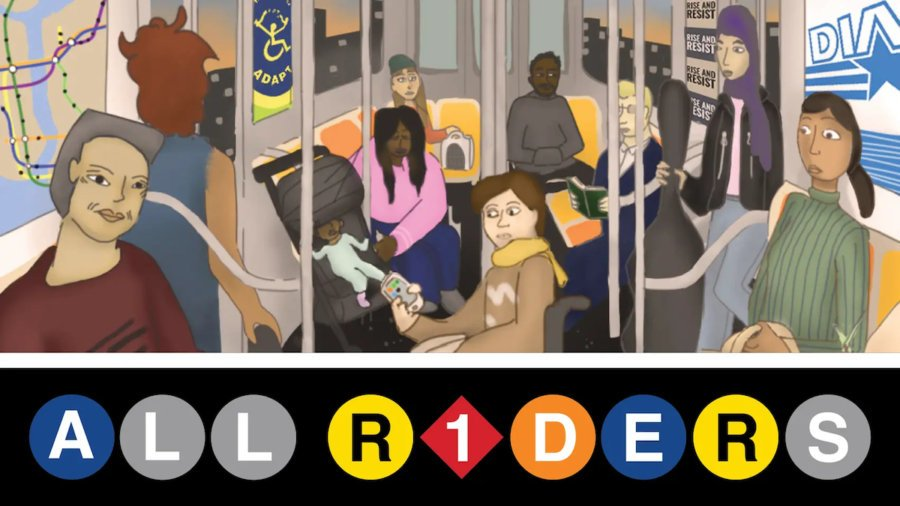 Poster for All Riders short film with an illustration of people on a New York City subway