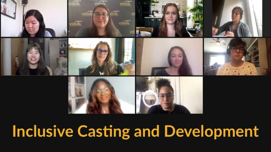 10 people with disabilities on a Zoom meeting together. Text: Inclusive Casting and Development