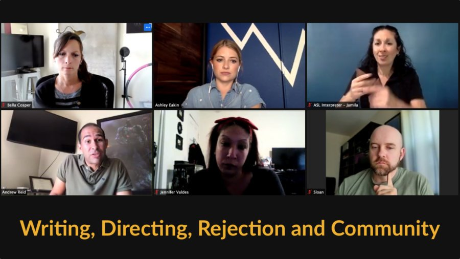 Six people on a zoom meeting having a conversation. Text: Writing, Directing, Rejection and Community
