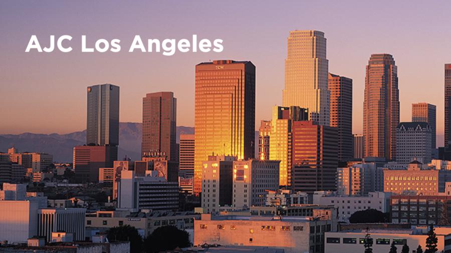 Los Angeles city skyline. Text: AJC Los Angeles