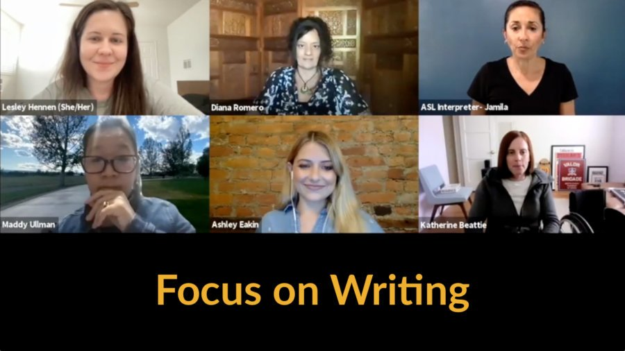 Six people on a Zoom call together. Text: Focus on Writing