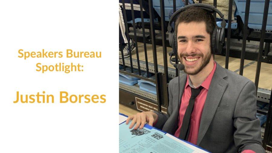 Justin Borses smiling at a sporting event wearing headphones. Text: Speakers Bureau Spotlight: Justin Borses