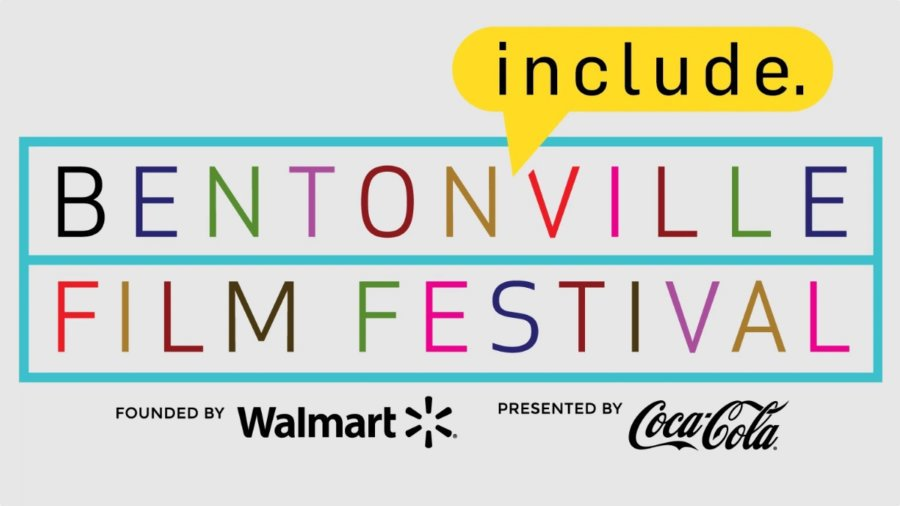 Bentonville Film Festival logo. Founded by Walmart, Presented by Coca Cola