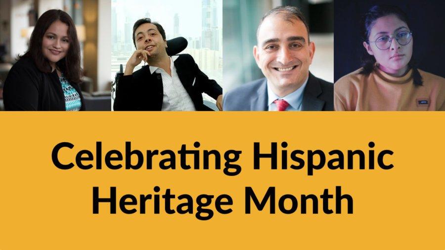 Headshots of Nelly Nieblas, Victor Pineda, Vincenzo Piscopo and Krista Ramirez-Villatoro. Text: Celebrating Hispanic Heritage Month
