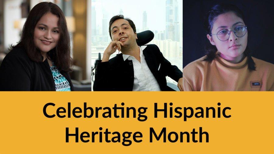 Headshots of Nelly Nieblas, Victor Pineda and Krista Ramirez-Villatoro. Text: Celebrating Hispanic Heritage Month