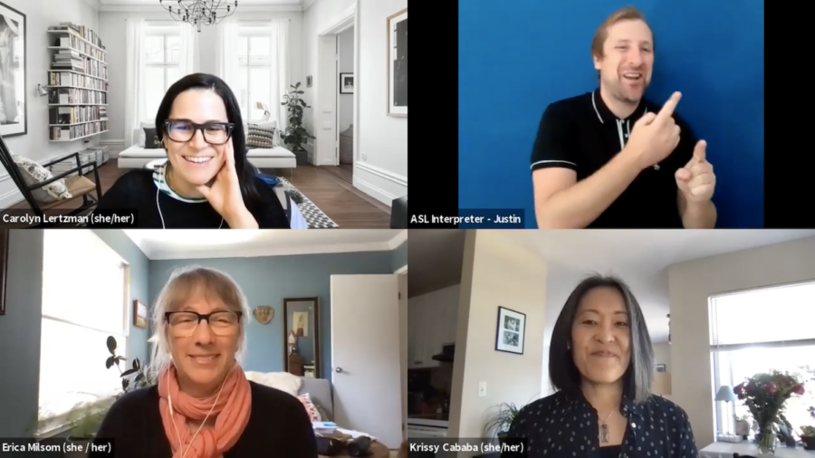 Three panelists and ASL interpreter on a Zoom meeting together