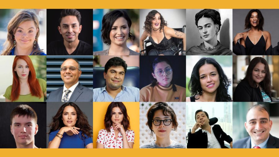 Headshots of 18 hispanic and Latinx people with disabilities