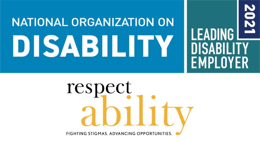 NOD 2021 Leading Disability Employer seal. RespectAbility logo.