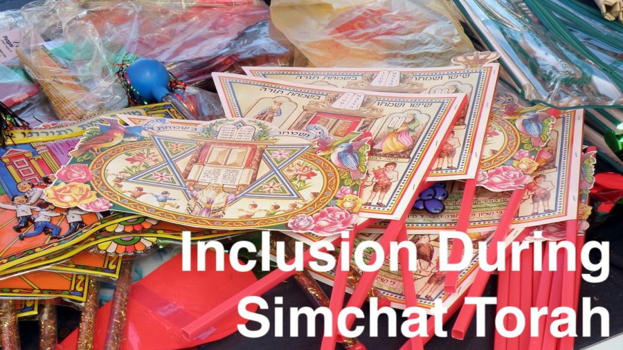 An assortment of toys and noisemakers for Simchat Torah. Text: Inclusion During Simchat Torah