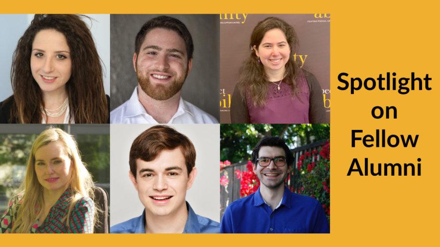 Headshots of six Jewish former RespectAbility Fellows smiling. Text: Spotlight on Fellow Alumni